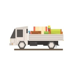 Loaded moving truck vector