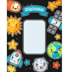 Kawaii space diploma doodles with pretty facial vector