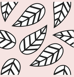 Abstract black and white leaves pattern on pink vector