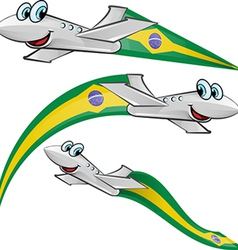 Airoplane cartoon with brazil flag vector
