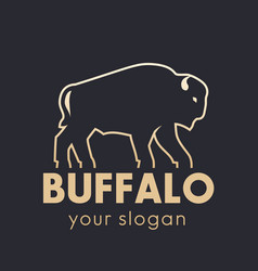 buffalo logo element gold outline vector image vector image