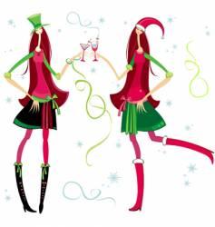 Christmas santa girls vector image