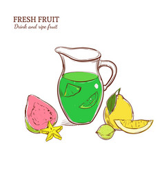 colored hand drawn exotic lemonade concept vector image vector image