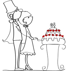 Cute couple cutting wedding cake drawing vector