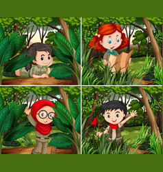 cute girls camping in forest vector image vector image