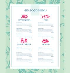 delicious seafood - drawn template menu vector image vector image