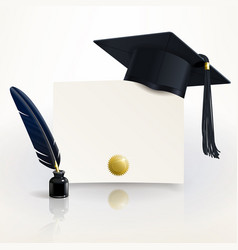 Diploma of graduation with a graduate cap vector
