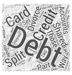Divorce and credit card debt word cloud concept vector