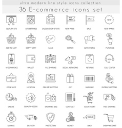 e-commerce ultra modern outline line icons vector image