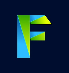 F letter line colorful logo abstract trendy green vector