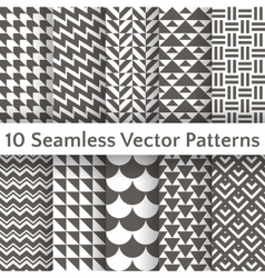 Fashionable geometric seamless pattern set vector image vector image