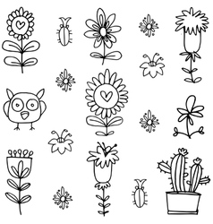 Flower hand draw doodles vector