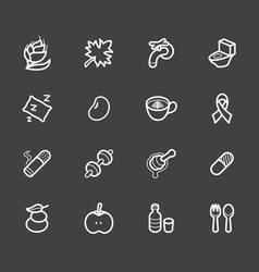 healthy element white icon set 2 on black backgrou vector image vector image