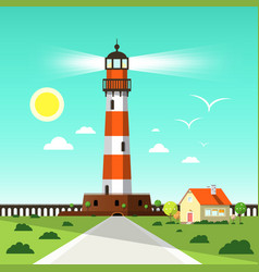 lighthouse tower with seagulls on blue sky house vector image vector image