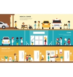 Medical center clinic and healthy life flat vector