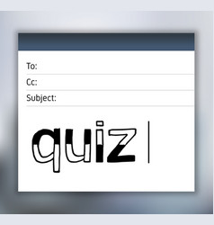 Quiz lettering on email template vector