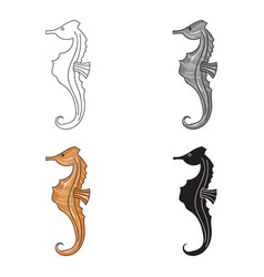 seahorse icon in cartoon style isolated on white vector image