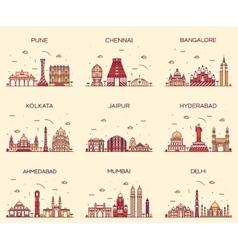 Set indian skylines mumbai delhi jaipur kolkata vector