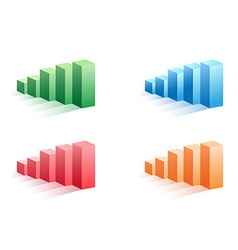 set of color business bar graph vector image vector image