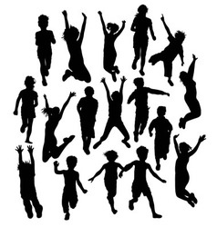 Silhouette activities children playing vector