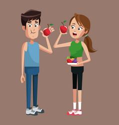Sport couple apple diet vector