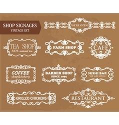 Vintage shop signages vector