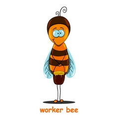 worker bee with a bucket of honey worth in the vector image