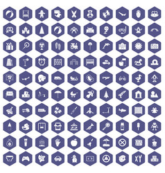 100 childhood icons hexagon purple vector