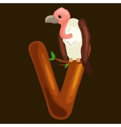 Letter v with vulture animal for kids abc vector