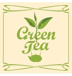 label for green tea vector image