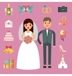 Bride and groom wedding couple vector