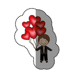 Color bridegroom with red heart balloons in his vector