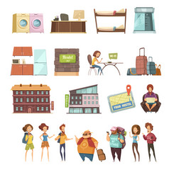 Hostel isolated retro icons set vector