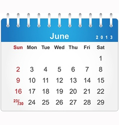Stylish calendar page for June 2013 vector image