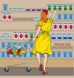 woman shopping at the supermarket pop art vector image