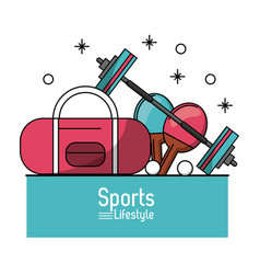colorful poster of sports lifestyle with briefcase vector image