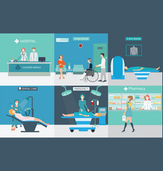 Info graphic of medical services with doctors and vector
