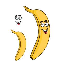 Happy smiling yellow cartoon banana fruit vector