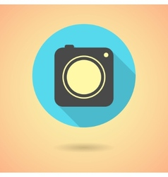 Photo camera icon with long shadow vector