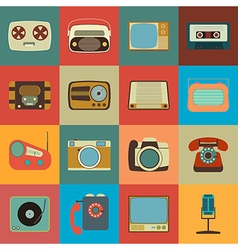 Retro style media icons vector