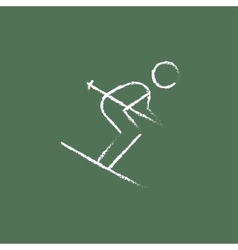 Downhill skiing icon drawn in chalk vector