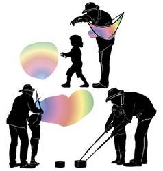 People and a soap bubble vector