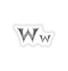 Sticker low poly letter w in gray mosaic polygon vector
