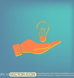 Hand holding a lightbulb character ideas vector