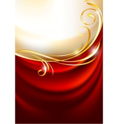 Red fabric curtain vector