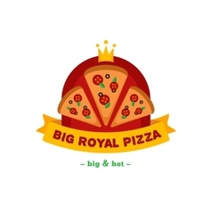 Bright pizza restaurant logo brand sign vector