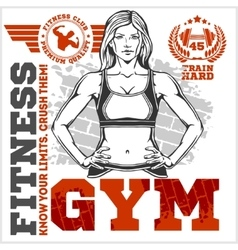 Fitness club and gym label athletic woman vector