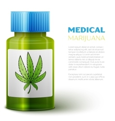 Bottle with medical marijuana vector