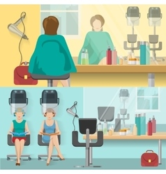 Beauty salon flat compositions vector