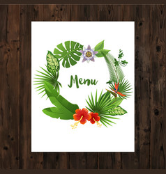 Background with menu text in tropical wreath vector image vector image